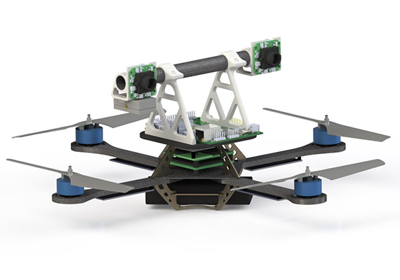Hummingbird Quadrotor with Stereo Fish-Eye cameras and an Intel Atom processor